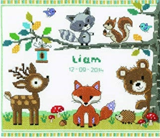 Forest Animals Sampler Counted Cross Stitch Kit, Vervaco pn-0150179