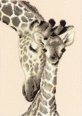 Giraffe Family Counted Cross Stitch Kit, Vervaco pn-0012183