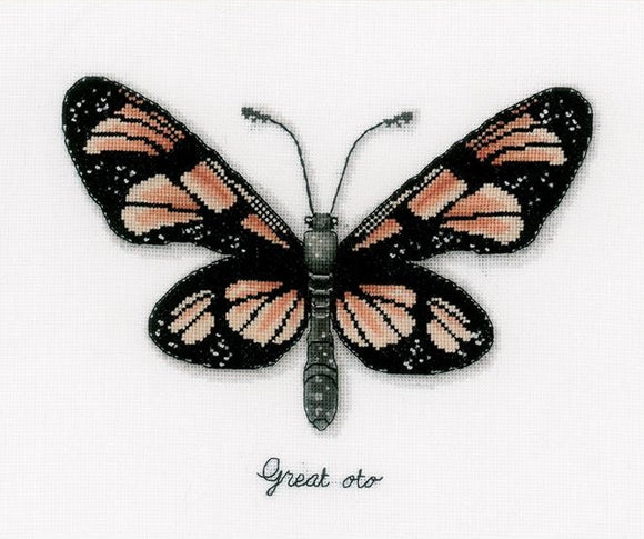 Orange Butterfly Counted Cross Stitch Kit, Vervaco pn-0165401