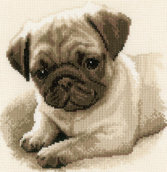 Pug Dog Counted Cross Stitch Kit, Vervaco pn-0169650