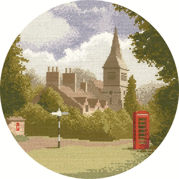 Village Green Cross Stitch Kit, John Clayton Circles Heritage Crafts