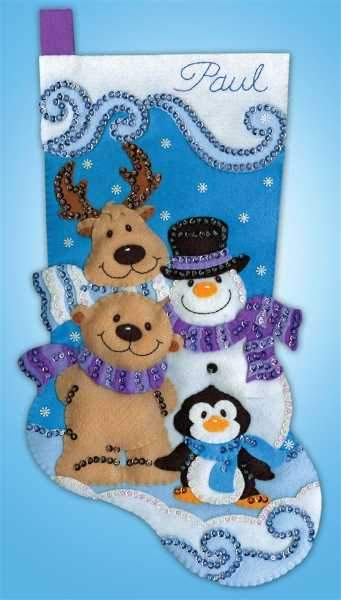 Winter Friends Stocking Felt Embroidery Applique Kit, Design Works 5260