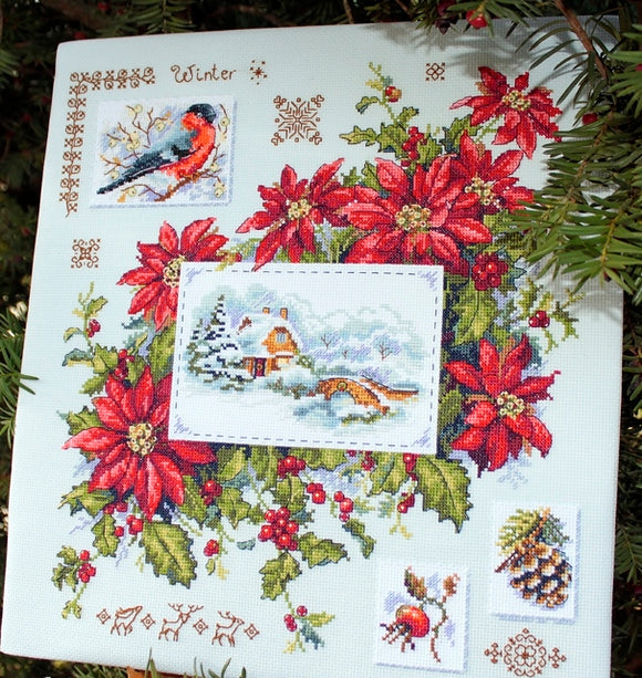 Winter Sampler Cross Stitch Kit, Merejka K-119