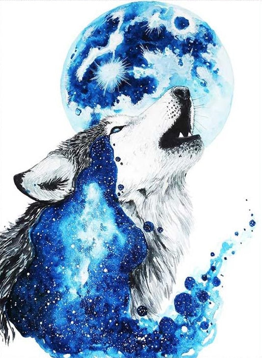 Howling Wolf, Modern Counted Cross Stitch Kit -Scandy Girl
