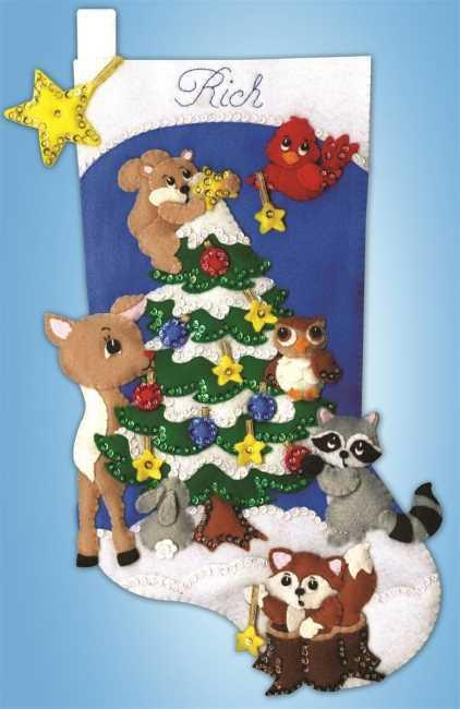 Woodland Friends Stocking Felt Embroidery Applique Kit, Design Works 5250