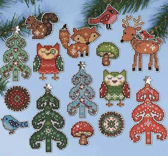 Woodland Ornaments Christmas Cross Stitch Kit, Design Works 1694