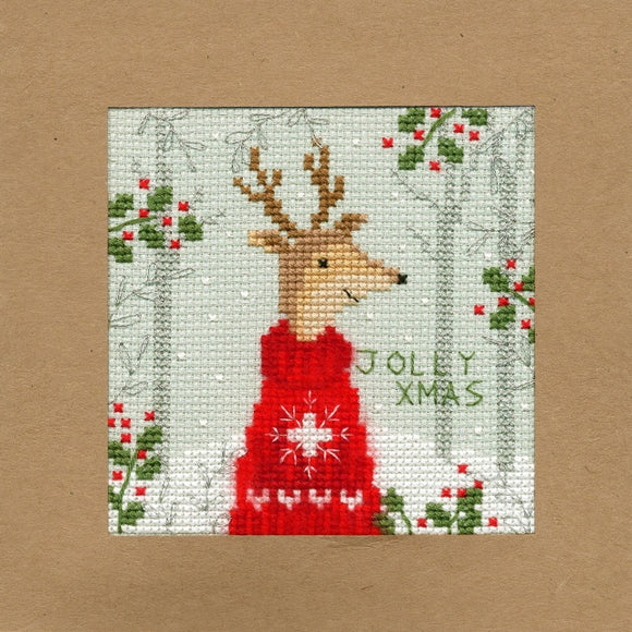 Xmas Deer Christmas Card Cross Stitch Kit, Bothy Threads XMAS12