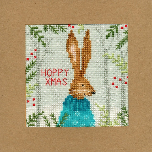 Xmas Hare Christmas Card Cross Stitch Kit, Bothy Threads XMAS10