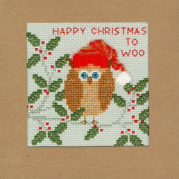 Xmas Owl Christmas Card Cross Stitch Kit, Bothy Threads XMAS11