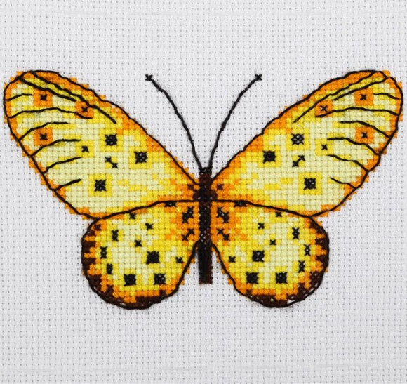 Yellow Butterfly Cross Stitch Kit, VDV TM-0217