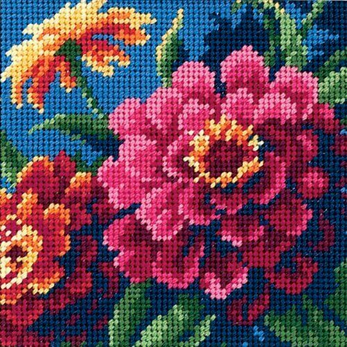 Zinnias Tapestry Needlepoint Kit, Dimensions D07213