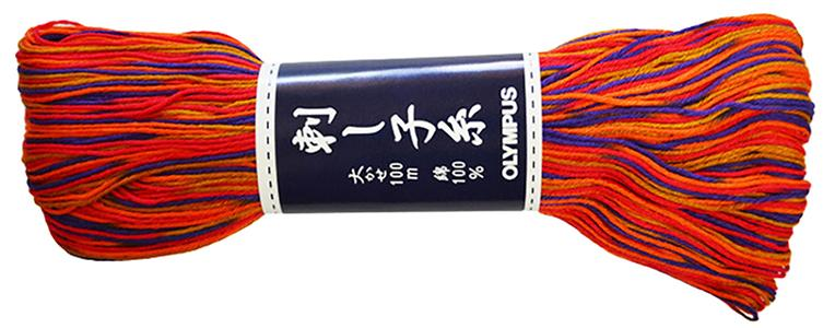 Sashiko Thread - Olympus - Large 100m Skeins - Variegated  # 174 - Orange, Purple & Gold