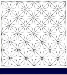 Sashiko Pre-printed Sampler - # 0255 Cool Water Surface - Navy