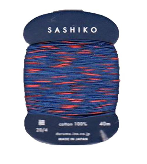 Sashiko Thread - Daruma - Thin Weight Variegated - 40m - # 302 - Blue Orange
