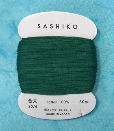 Sashiko Thread - Daruma - Medium/ Regular Weight - 30m - # 208 Dark Green