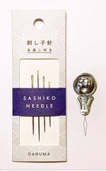 Notions - Daruma Sashiko Needles - 4 pack with Needle Threader