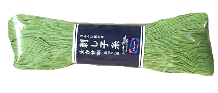 Sashiko Thread - Olympus - Large 100m Skeins - # 107 - Lime Green