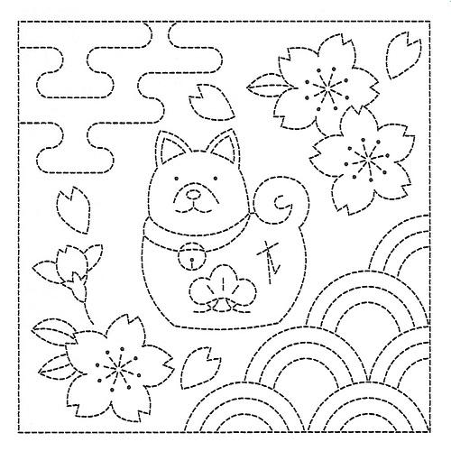 Sashiko Pre-printed Sampler - # 1044 - White - Shiba & Cherry Blossoms (Year of the Dog)