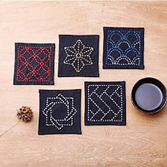Sashiko Coaster Collection - Kofu-tsumugi Cloth Yarn Dyed - TC1-Black
