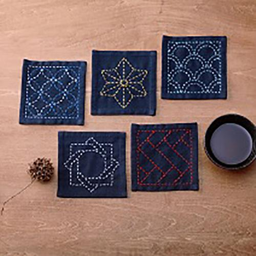 Sashiko Coaster Collection - Kofu-tsumugi Cloth Yarn Dyed - TC2-Navy