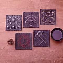 Sashiko Coaster Collection - Kofu-tsumugi Cloth Yarn Dyed - TC4-Purple