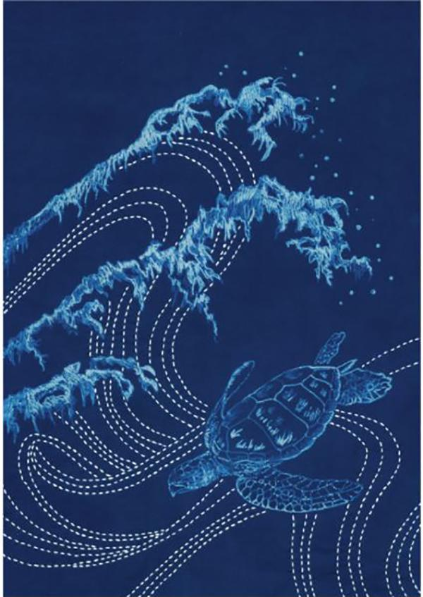Sashiko - Cynotype Sashiko Panel - Waves & Sea Turtle