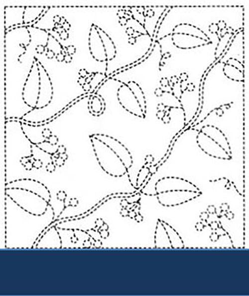 Sashiko Pre-printed Sampler - # 0213  Leaves & Berries - Navy
