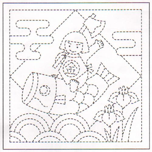 Sashiko Pre-printed Sampler - # 1026 Boy (Kintaro) Riding Koi - White