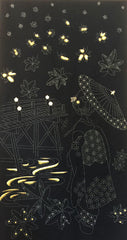 Sashiko Pre-printed Panel - Geisha with Umbrella, Bridge & Maple Leaves, Gold Metallic Accents - Black