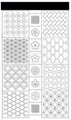 Sashiko Pre-printed Panel - (Susan Briscoe) 16 Traditional Patterns  - Sumi Black - A2009P