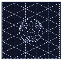 Sashiko Pre-printed Sampler - # 843S-206 - Sashiko Ume Mon & Diamonds - Navy
