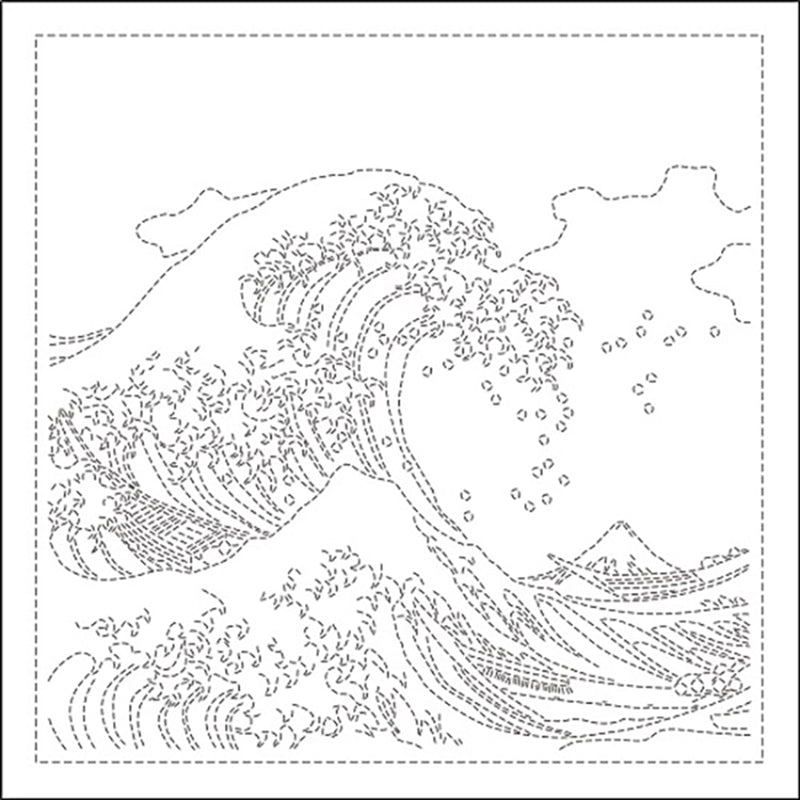 "*Sashiko Pre-printed Sampler - ""Kanagawa Oki Namiura"" - Great Waves - SC-H1094 - White"