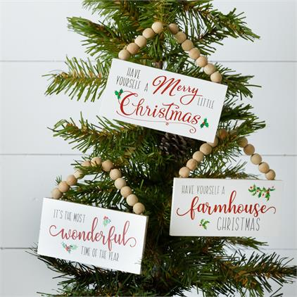 Mini Beaded Signs - Wonderful, Farmhouse & Christmas