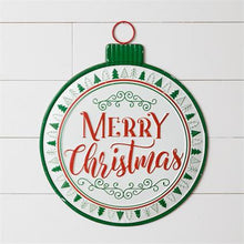 Load image into Gallery viewer, Merry Christmas Ornament Metal Sign