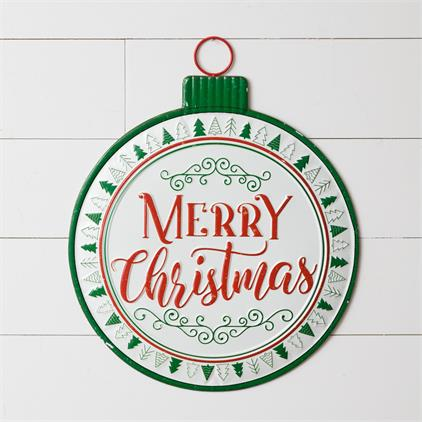 Merry Christmas Ornament Metal Sign
