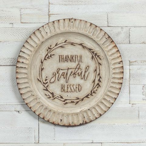 Vintage Grateful Thankful & Blessed Metal Plate Plaque