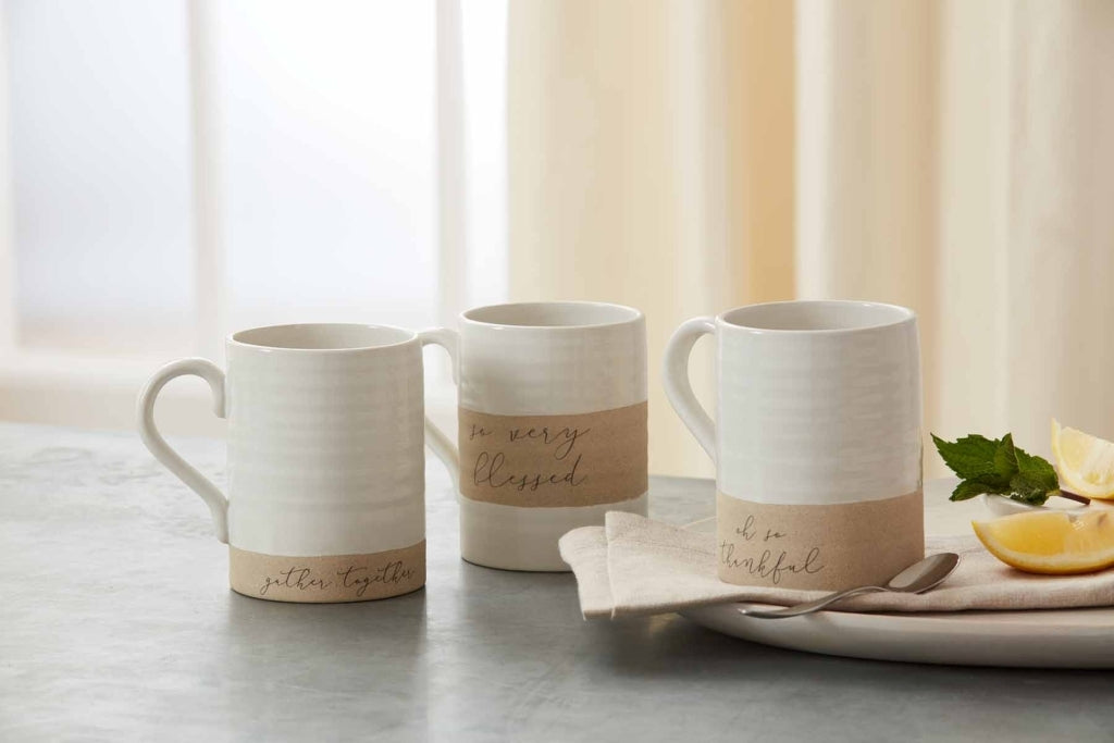 Thankful Stoneware Mugs