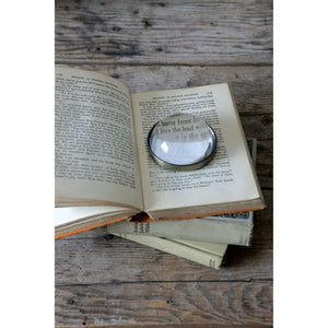 Round Metal & Glass Paperweight / Magnifying Glass