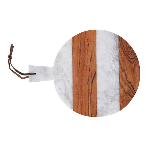 Marble & Wood Round Serving Tray