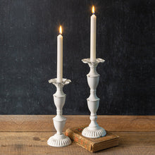 Load image into Gallery viewer, Set of Two Delilah Metal Candlesticks
