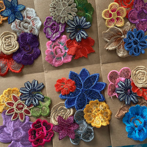 Colorful Sew-on Floral Patches (12pc)