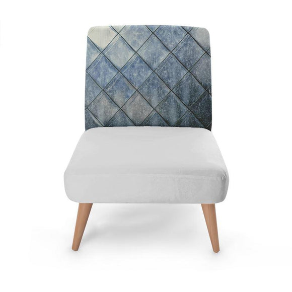Blue Diamond Print Occasional Chair Occasional Chair Cult Art Fusion
