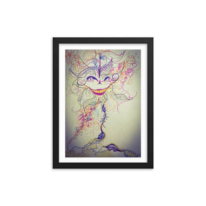 Cheshire Cat Mood Wooden Framed Print Cult Art Fusion