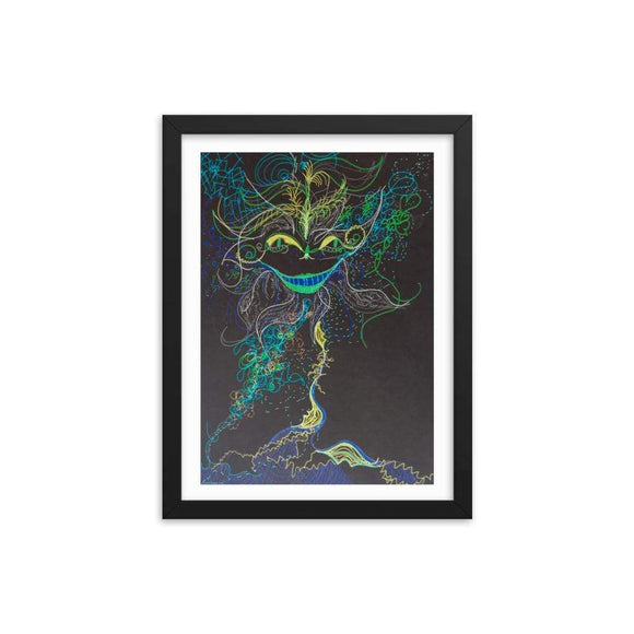 Cheshire Cat X Wooden Framed Print Cult Art Fusion
