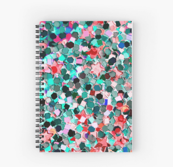 Gorgeous Spiral Notebook Confetti Glitter Print Notebook Redbubble