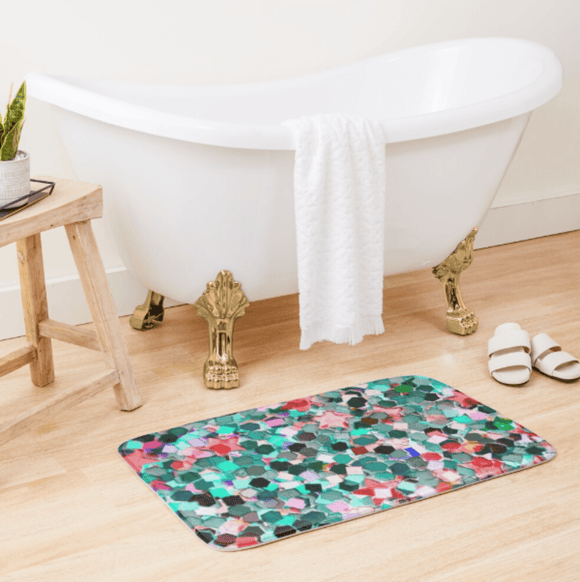 Luxury Bath Tub Shower Mat Confetti Glitter Bath Mat Large 86x53 Centimeters Redbubble