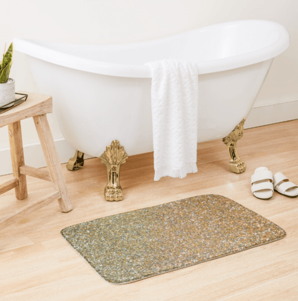 Luxury Bath Tub Shower Mat Gold Glitter Bath Mat Large 86x53 Centimeters Redbubble