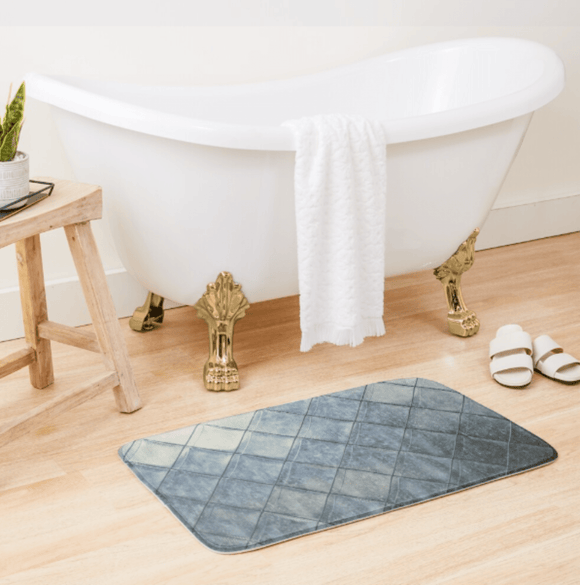 Luxury Bath Tub Shower Mat Grey Diamonds Bath Mat Large 86x53 Centimeters Redbubble
