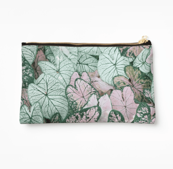 Luxury Make Up Bag Spring Leaf Print Make Up Bag Cult Art Fusion
