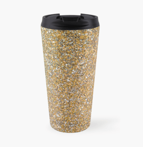 Luxury Travel Mug Gold Glitter Travel Mug Cult Art Fusion
